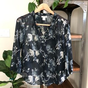 Lucky Brand floral blouse small